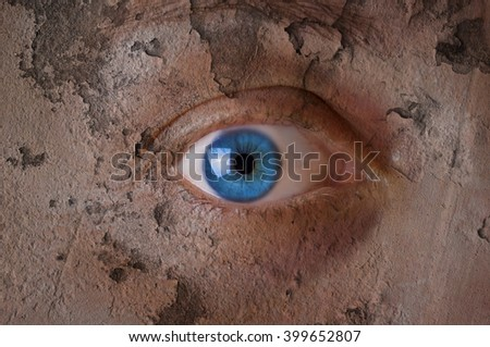 Beauty concept - face covered with cracked surface - symbol of dry skin - stock photo