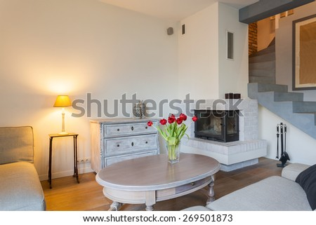 Beauty cozy living room in luxury residence - stock photo