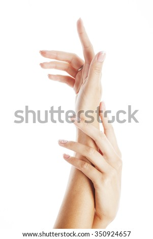 beauty delicate hands with manicure close up isolated on white - stock photo
