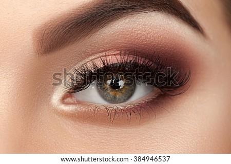 Beauty eye of woman with amazing make-up. Close up photo. - stock photo