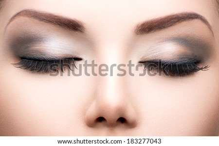 Beauty Eyes Makeup. Make up closeup. Long eyelashes, Perfect skin - stock photo
