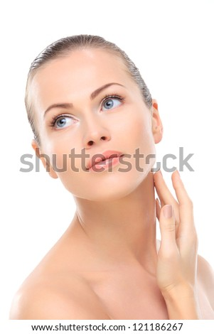 Beauty face of beautiful woman with clean fresh skin - isolated - stock photo