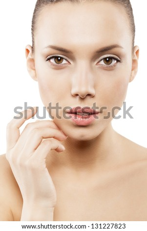 Beauty face of girl with clean skin - isolated - stock photo