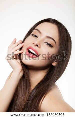 beauty face of woman with clean fresh skin and long hair shows emotion, on white background - stock photo