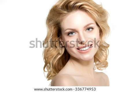 Beauty face woman. Girl healthy model in spa salon. Cream treatment products. Facial skin terapy. Beautiful smile, teeth. Dental - stock photo