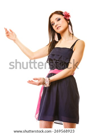 beauty, fashion, advertisement concept - young woman in summer dress showing blank copy space copy space, isolated - stock photo