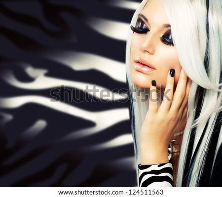 Beauty Fashion Girl black and white style. Long White Hair with Black Stripes. - stock photo
