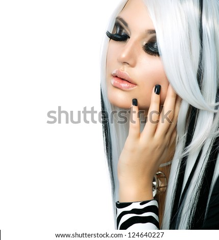 Beauty Fashion Girl black and white style. Long White Hair with Black Stripes. Smoky Eyes Makeup. Black Nails. - stock photo