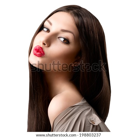 Beauty fashion girl portrait. Beauty brunette model. Beauty Woman Portrait. Beautiful Girl looking at camera. Long Healthy and Shiny Smooth Brown Hair. White background. Beautiful make up. Emotion - stock photo