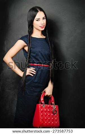 Beauty Fashion Glamour Girl over black background - stock photo
