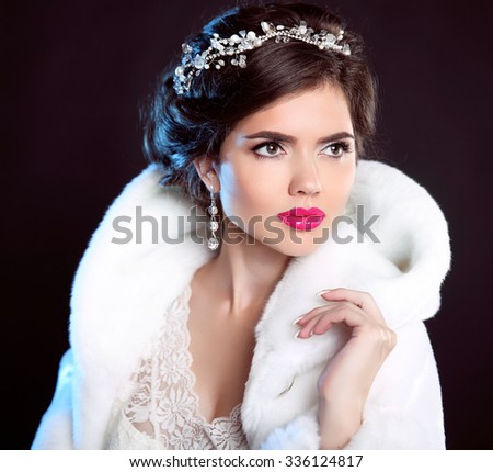 Beauty Fashion Model Girl in white Mink Fur Coat. Beautiful Luxury Winter Woman isolated on dark background. - stock photo