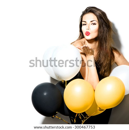 Beauty fashion model girl with colorful balloons isolated on white background. Party, holiday celebration. Beautiful sexy woman - stock photo