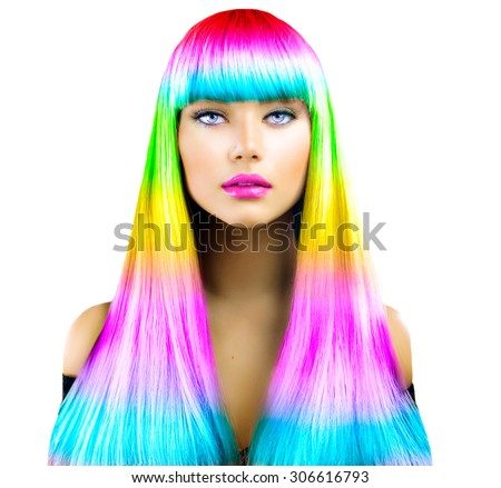 Beauty Fashion Model Girl with Colorful Dyed Hair. Colourful Long Hair. Portrait of a Beautiful Woman with Colorful Dyed Hair, professional hair Coloring. Colouring hair, fringe haircut - stock photo
