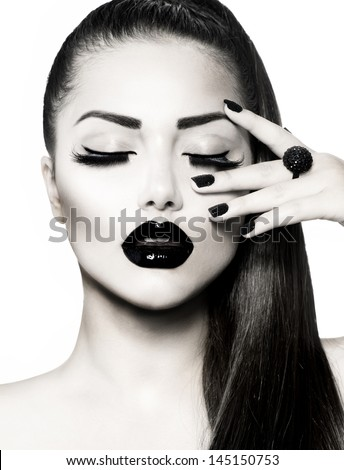 Beauty Fashion Model Girl with Long Healthy Hair, Long Lushes. Fashion Trendy Caviar Black Manicure. Nail Art.  Black and White Portrait - stock photo