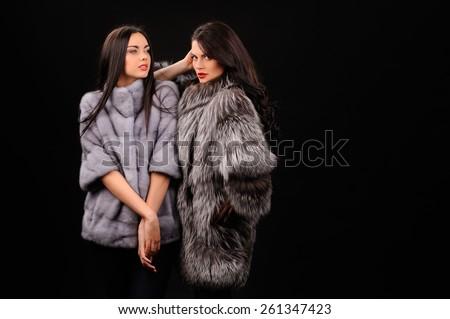 Beauty Fashion Model Girls in Blue Mink Fur Coat. Beautiful Luxury Winter Women - stock photo