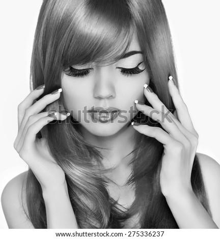 Beauty fashion woman portrait. Long hair. Eyelashes Makeup. Black and white photo. - stock photo