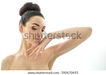 Beauty. Female portrait. Beautiful girl cheerful posing over white background. Woman's face and hands. - stock photo