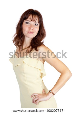 beauty fit girl in  dress. Isolated over white background - stock photo