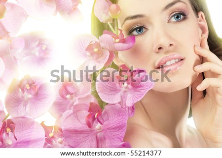 beauty flower girl on the blurry background - stock photo
