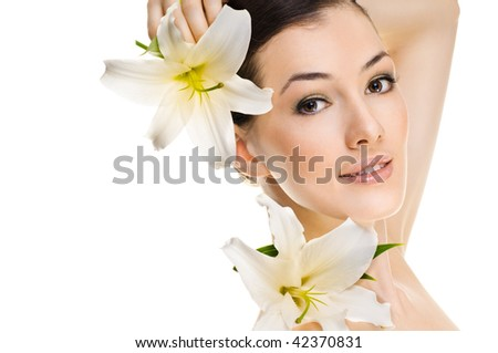 beauty flower girl on the grey background - stock photo