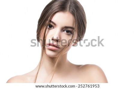 Beauty Girl. Beautiful Young Woman with Fresh Clean Skin, Beautiful Face. Pure Natural Beauty. Perfect Skin. Portrait of Beauty Girl.  - stock photo