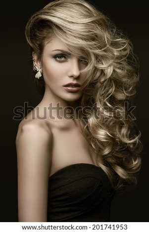 beauty girl blond curls - stock photo