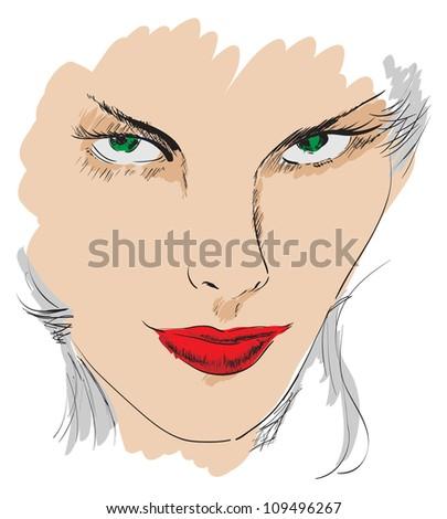 beauty girl face - stock photo