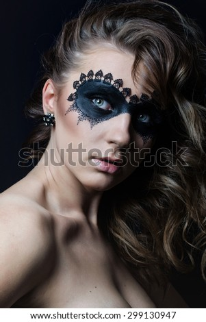 Beauty Girl.Fashion Art Woman Portrait with fashion mask makeup - stock photo