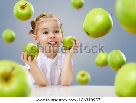 beauty girl holding green apples - stock photo