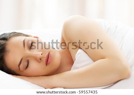 beauty girl in bed, just wake up - stock photo