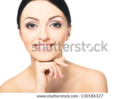 Beauty Girl. Portrait of Beautiful Young Woman looking at Camera. Isolated on White Background. Fresh Clean Skin - stock photo