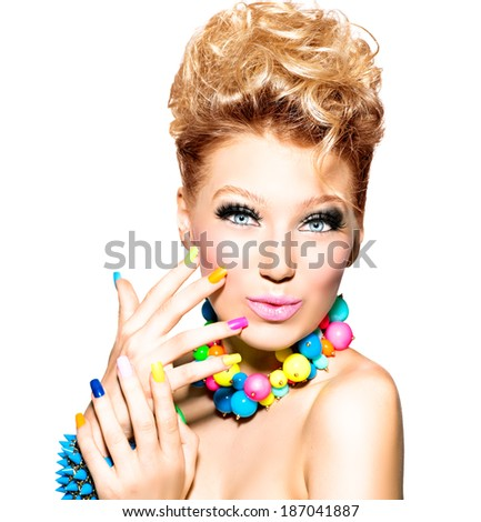 Beauty Girl Portrait with Colorful Makeup, Nail polish and Accessories. Colourful Studio Shot of Funny Woman. Vivid Colors. Colourful Manicure and fashion Hairstyle. Rainbow Colors. Beautiful lady  - stock photo