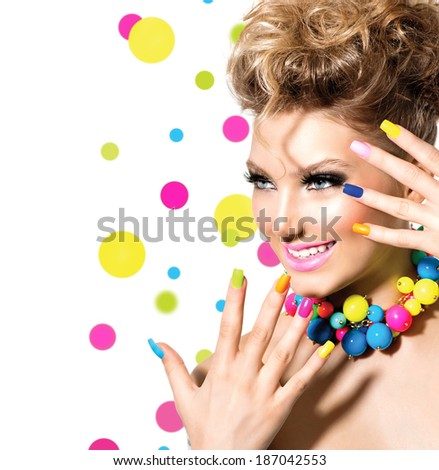 Beauty Girl Portrait with Colorful Makeup, Nail polish and Accessories. Studio Shot of Funny Woman. Vivid Colors. Colourful Manicure and fashion Hairstyle. Rainbow Colors. Beautiful lady make up - stock photo