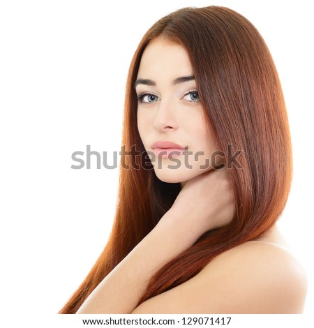 beauty girl portrait, young beautiful woman portrait with clean skin and long red hair, over white studio shot - stock photo