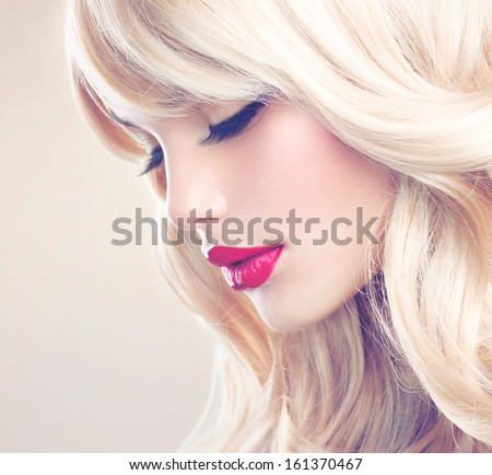 Beauty Girl with Blonde Hair. Beautiful Blond Model Woman Close up Portrait. Perfect Face, clean skin. Soft Photo - stock photo