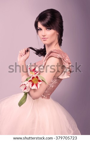 Beauty Girl with flovers. Beautiful Young Woman with Fresh Clean Skin, Beautiful Face. Pure Natural Beauty. Perfect Skin.  - stock photo