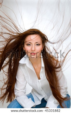 beauty girl with flying haircurl - stock photo