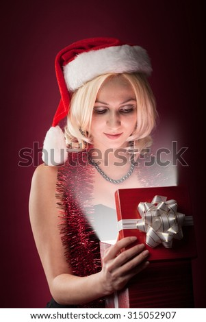 beauty girl with red gift box - stock photo