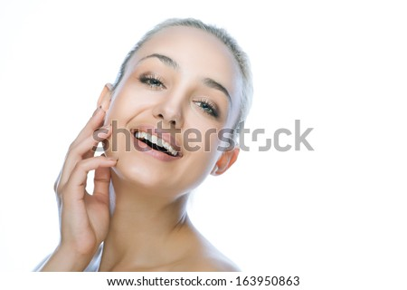 beauty happy smiling woman over white background - stock photo