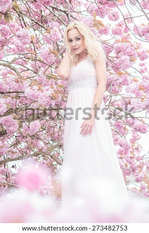 Beauty in springtime with a full length portrait of a gorgeous young blond woman in a long white dress standing in front of pink spring blossom looking down with a gentle serious expression - stock photo