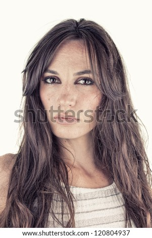 Beauty lady portrait with a lot details with white background, fashion, natural beauty concept - stock photo