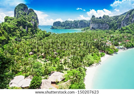 Beauty landscape from viewpoint at Railay beach, Thailand - stock photo