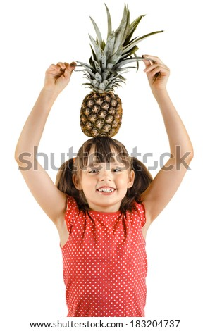 beauty little girl, hold two pineapple , on white background, isolated - stock photo