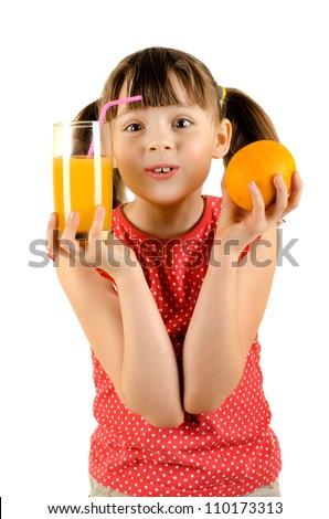 beauty little girl, holdorange and glass  juice, on white background, isolated - stock photo