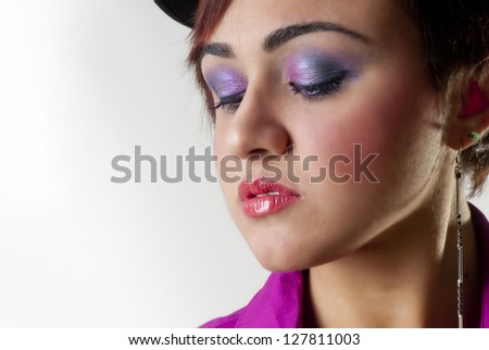 Beauty make up portrait isolated on white background - stock photo