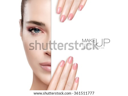 Beauty Makeup and Nai Art Concept. Beautiful fashion model woman with soft makeup, perfect skin and trendy pink nails, half face with a white card template. High fashion portrait isolated on white - stock photo