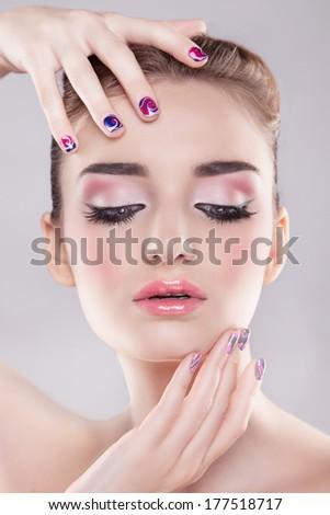 beauty makeup portrait - stock photo