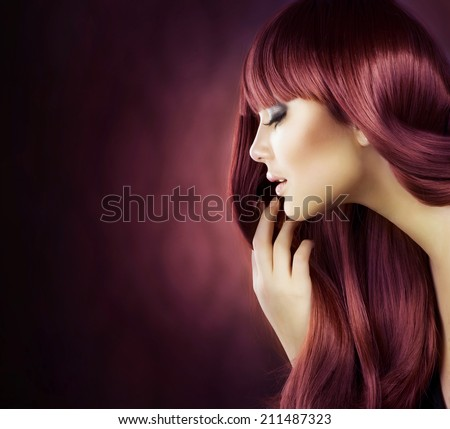 Beauty Model girl with Healthy Hair. Beautiful woman with long smooth shiny straight hair. Hairstyle. Hair cosmetics, haircare - stock photo