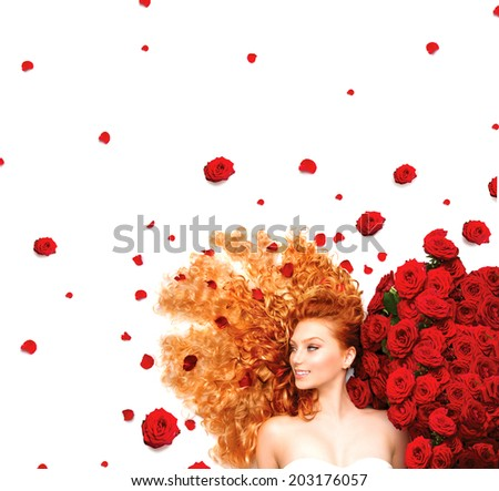 Beauty model girl with long curly red hair and beautiful red roses hairstyle. Fashion woman with Wavy healthy hair isolated on white background. Permed hair  - stock photo