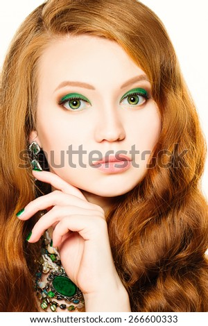 Beauty Model Girl with Makeup and Red Hair.  Fashion Woman Portrait.  - stock photo